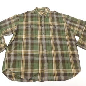Timberland 3XL Green Brown Button Down Shirt Flann